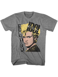 Billy Idol 1987 Tour Graphite Heather Adult T-Shirt Tee
