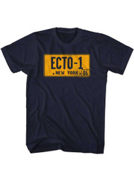 The Real Ghostbusters Animated TV Series Ecto-1 License Plate Adult T-Shirt Tee