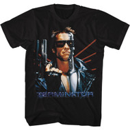 Terminator 1984 SciFi Action Movie Arnold Serious Semi-Auto Gun Adult T-Shirt