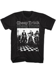 Cheap Trick Rock Band Motorcycle Black Adult T-Shirt Tee