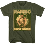 Rambo 1980's Action Thriller War Movie Lil Ramblins Military Green Adult T-Shirt