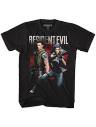 Resident Evil Horror Science Fiction Video Game Chris And Jill Adult T-Shirt Tee
