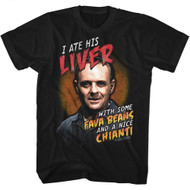 Silence Of The Lambs Fava Beans And Chianti Black Adult T-Shirt Tee