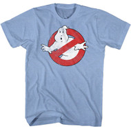 Real Ghostbusters Logo Light Blue Heather Adult T-Shirt Tee