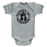 Conan Sword&Sorcery Hero Daddy's Little Barbarian Gray Hthr Infant Baby Snapsuit
