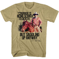 John Wayne Courage Khaki Heather Adult T-Shirt Tee