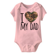 American Classics Army I Camo Heart-Love My Dad Pink Infant Baby Snapsuit Romper