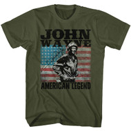 John Wayne American Legend Hollywood Icon Actor USA Flag Adult T-Shirt Tee