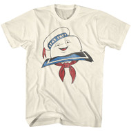 The Real Ghostbusters Animated Series Stay Puft Head Natural Adult T-Shirt Tee