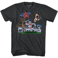 Ghosts N Goblins Video Arcade Game Graveyard Black Heather Adult T-Shirt Tee