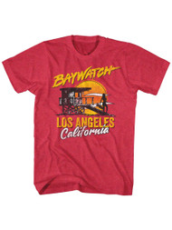 Baywatch 90's Drama Beach Patrol Lifeguard Los Angeles  Adult T-Shirt Tee