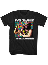 Macho Man Savage Dept Black Adult T-Shirt Tee