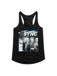 NSYNC 1995 Boy Band Blue Flame Profile Pictures Ladies Racerback Tank Top Tee