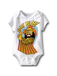 Macho Man Baby Oh White Infant Baby Creeper Snapsuit Romper