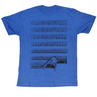 Jaws '75 Movie Thriller Shark Eats Through Movie Music Score Blue Adult Mens Tee