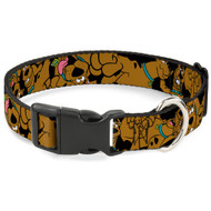 Buckle-Down Scooby Doo Stacked CloseUp Black Plastic Clip Collar, Large/15-26""