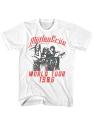 Motley Crue 1981 American Heavy Metal Rock Band World Tour White Adult T-Shirt