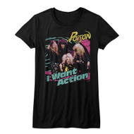 Poison American Rock Band Rock Band Bright I Want Action Juniors T-Shirt Tee