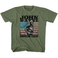 John Wayne American Legend Hollywood Icon Actor USA Flag Youth T-Shirt Tee