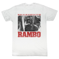 Rambo 1980s Action Thriller War Movie No One Can Stop Him Adult T-Shirt Tee