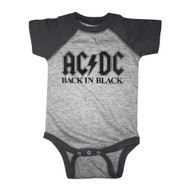 ACDC Back In Black Vintage Smoke Baseball Infant Baby Creeper Snapsuit Romper