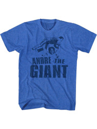 Andre The Giant Andre Blue Retro Royal Heather Adult T-Shirt Tee