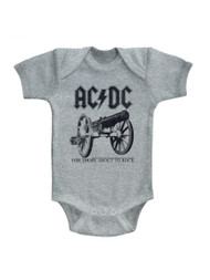ACDC About To Rock Again Gray Heather Infant Baby Creeper Snapsuit Romper