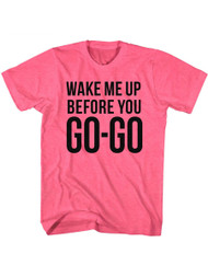 Wham English Music Duo Go Go Safety Pink Adult T-Shirt Tee