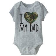 American Classics Army I Camo Heart-Love My Dad Grey Infant Baby Snapsuit Romper