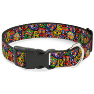 Buckle-Down Colorful Calaveras Stacked Multicolor Plastic Clip Collar, Narrow Medium/7-13""