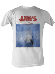 Jaws 1970's Shark Spielberg Movie Amity Island Poster Adult White T-Shirt