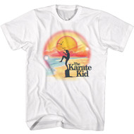 Karate Kid 1980 Teen Movie Martial Arts One Leg Pose Ocean Sun Adult T-Shirt Tee