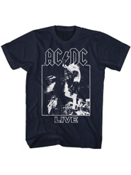 ACDC Heavy Metal Rock Band Live On Stage Navy  Adult T-Shirt Tee