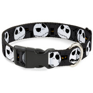 Buckle-Down Nightmare Before Christmas Jack Expressions Gray Plastic Clip Collar, Large/15-26""