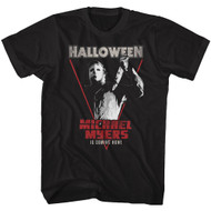 Halloween 1978 Slasher Film Michael Meyers Coming Home Black Adult T-Shirt Tee