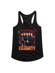 NSYNC 1995 Boy Band Group Photo Celebrity in Lights Ladies Racerback Tank Top