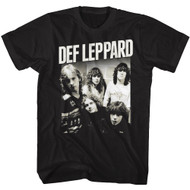 Def Leppard 1977 English Rock Band Hangin Out Group Shot Black Adult T-Shirt Tee