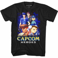 Capcom Video Game Developer Publisher Heroes1 Black Adult T-Shirt Tee