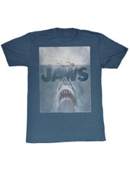Jaws 1970's Shark Thriller Spielberg Movie Amity Island Poster Adult T-Shirt