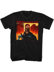 Terminator 1980's SciFi Action Movie Cyborg Assassin Arnold Fire Adult T-Shirt