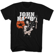 Rambo 80's Flag Action Thriller War Army First Blood Movie Adult Black T-Shirt
