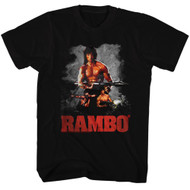Rambo 80's Flag Action Thriller War Army First Blood Movie Guns Adult T-Shirt