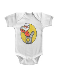Popeye Baby Popeye Spinach Can White Infant Baby Creeper Snapsuit Romper