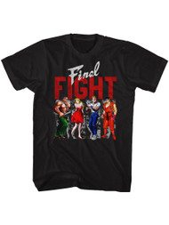 Final Fight Side-Scrolling Beat-'em Up Video Game Panels Blk Adult T-Shirt Tee