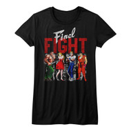 Final Fight Side-Scrolling Beat-'em Up Video Game Panels Blk Juniors TShirt Tee