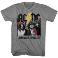 ACDC Heavy Metal Rock Band Living Easy Living Free Gray Hthr Adult T-Shirt Tee