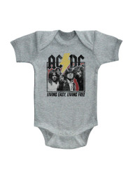 ACDC Heavy Metal Rock Band Living Easy Free Gray Infant Baby Creeper Snapsuit