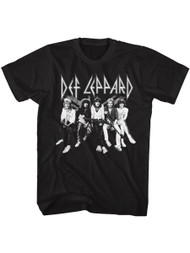 Def Leppard 1977 English Rock Band Music Group Shot Black Adult T-Shirt Tee