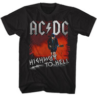 ACDC Heavy Metal Rock Band Highway to Hell Guitarist Black Adult T-Shirt Tee