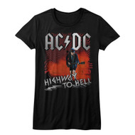 ACDC Heavy Metal Rock Band Highway to Hell Black Juniors T-Shirt Tee